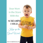 Dear Mom in the Store with the Screaming Kid…Keep up the Good Work!