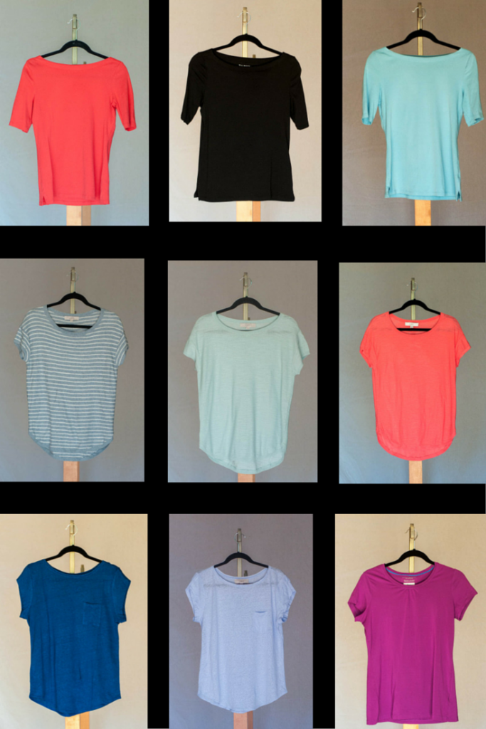 Weekend Stretch Bateau Tees in papaya fruit, black, and robin's egg. (Talbots) Slubbed Sweater Tees in striped blue heather, glass blue, and fluorescent coral (Loft) Linen Cap Tees in bright winter blue and morning mist (Loft), OmniShade Tee (Columbia)