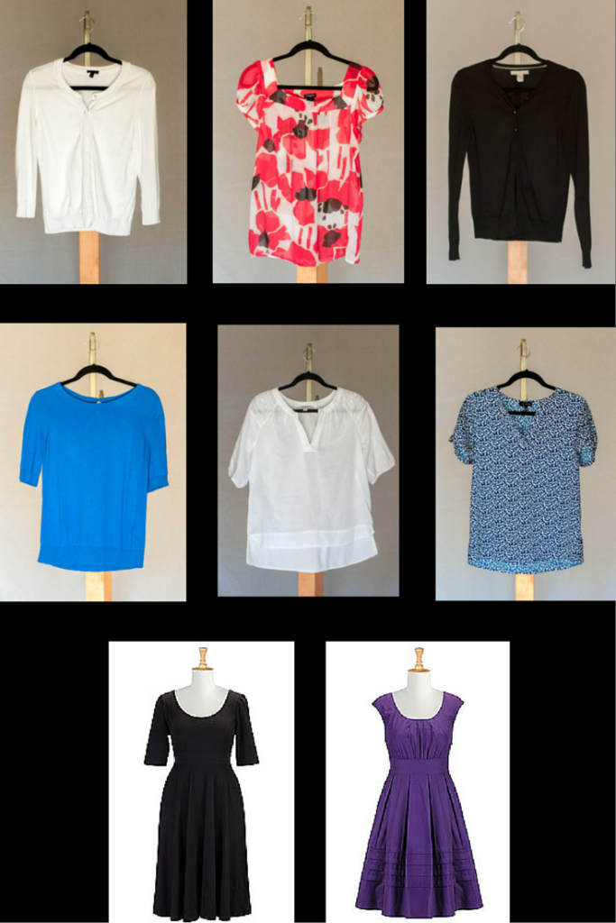 White 3/4 sleeve cardigan (Talbots), Transparent floral top (Ann Taylor), Black cardigan (Banana Republic) Blue Back Keyhole sweater (Talbots), White embroidered boho blouse (Loft), Blue and white dot crepe top (Limited) Black Fit and Flare Knit Dress (eShatki), Blue Chelsea dress (eShakti)