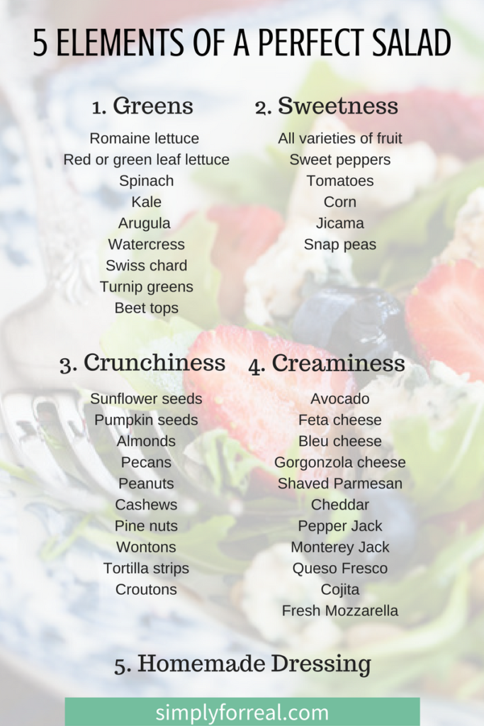 Are you in a salad rut? You can turn a salad from boring to spectacular by applying these five simple elements (that don't require a recipe). Your creation is sure to keep people coming back for more.