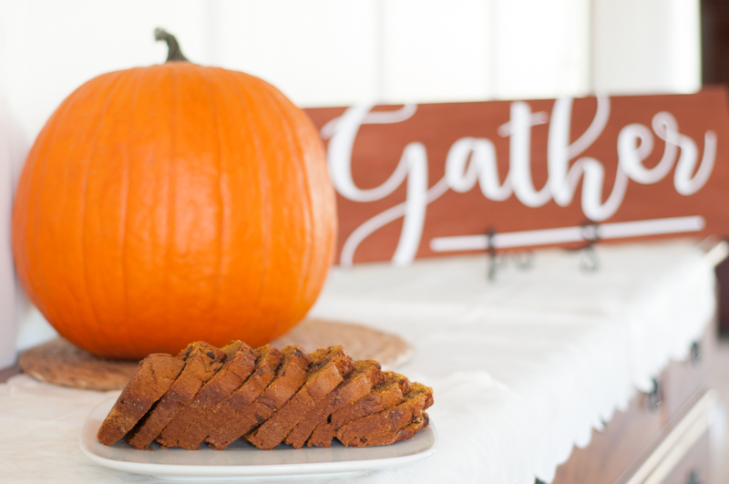 This soft and delicious pumpkin bread, complete with creamy chocolate is sure to bring the essence of fall to your home.